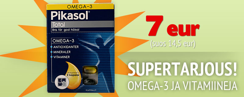 SUPERTARJOUS! Omega-3 JA Vitamiineja 7 eur (suos 14,5 eur)