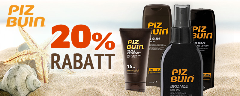 Piz Buin Solprodukter - 20% rabatt!