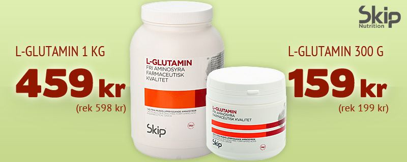 L-Glutamin - 1kg 459 kr (rek 598 kr), 300g 159 kr (rek 199kr)