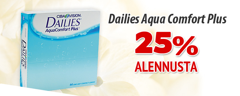 25% alennusta Dailies AquaComfort Plus 90p!