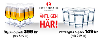 30% rabatt p 6-pack lglas &amp; vattenglas frn Rosendahl!
