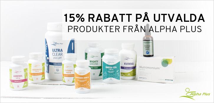 15% rabatt på utvalda produkter från Alpha Plus!