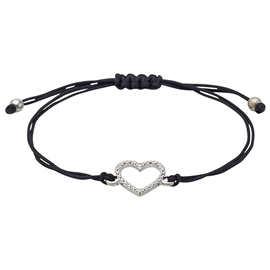 Sparkling Heart Leather Bracelet