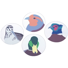 Graphic Birds Glasunderlägg 4-pack