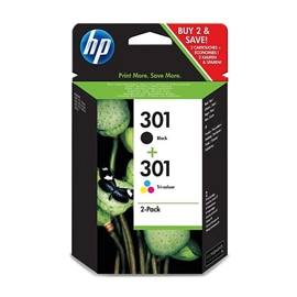 HP No301 black/3-color ink cartridges, 2-pack