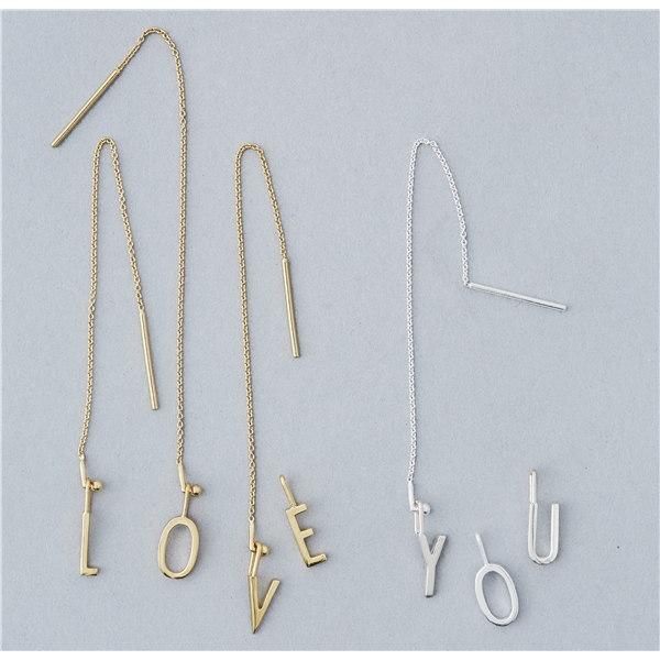 Design Letters Earring Chain Gold (Bild 2 av 3)