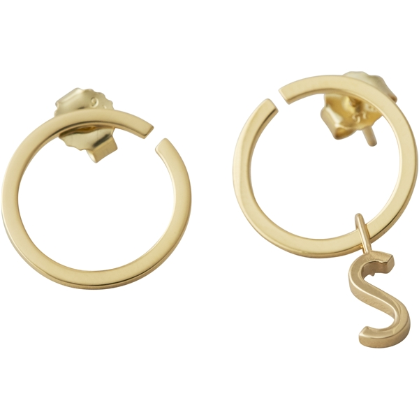 Design Letters Earring Hoops 16 mm Gold (Bild 2 av 2)